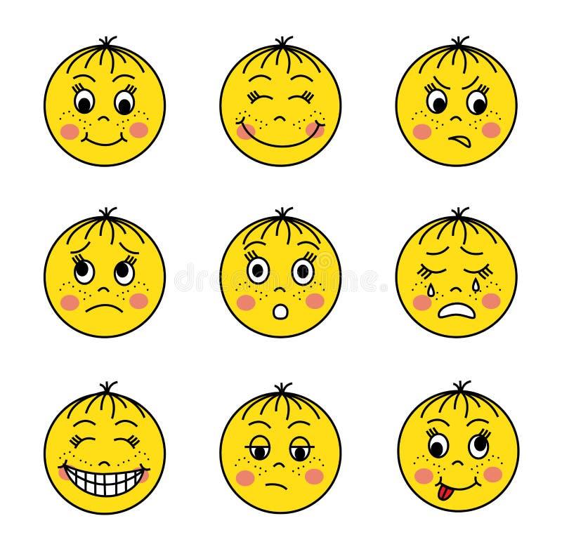 Reeks gele emoticons vector illustratie