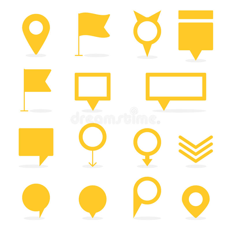 Reeks gele geïsoleerde wijzers en tellers verschillende vormen vector illustratie