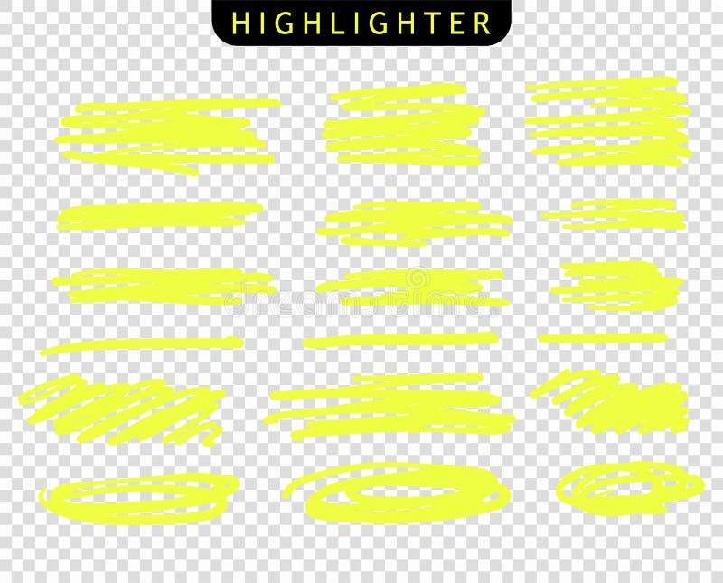 Reeks gele tellers van de slagenlijn De vectorlijnen van de hoogtepuntborstel Onderstreepte de schets van de handtekening, strepe vector illustratie