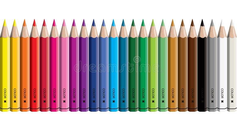 Reeks gelijk geschikt van de kleurpotloodinzameling - naadloos in beide richtingen - geïsoleerde vectorillustratiecraynos op witt vector illustratie