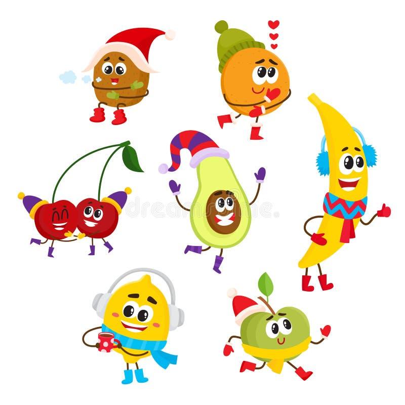 Reeks gelukkige glimlachende fruitkarakters in de winter royalty-vrije illustratie