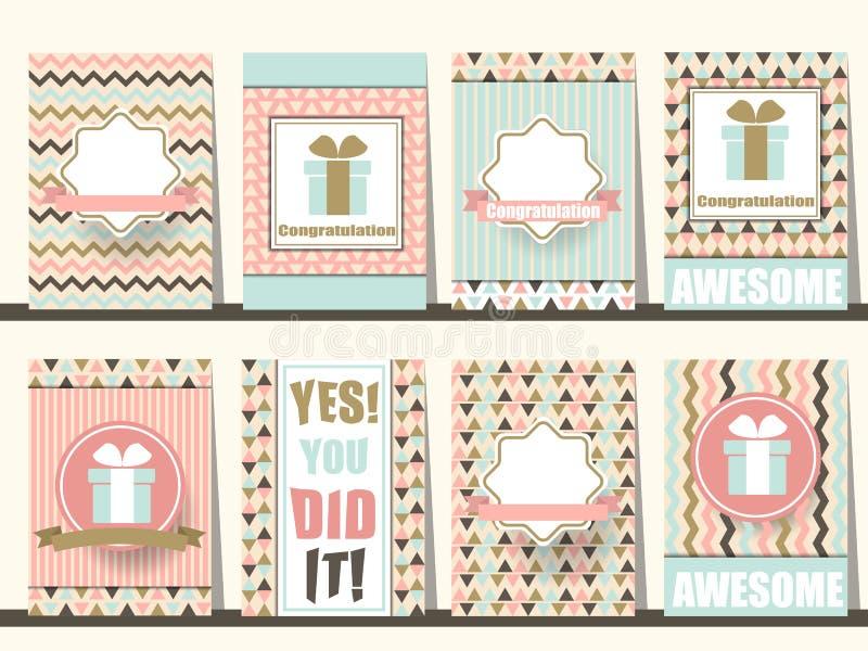 Reeks Gelukwensbrochures in uitstekende stijl Vector eps10 royalty-vrije illustratie