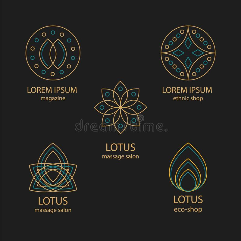Reeks geometrisch ontwerpemblemen en monogrammen royalty-vrije illustratie