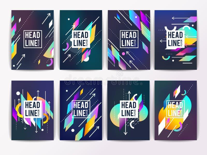 Reeks geometrische abstracte kleurrijke vliegers royalty-vrije illustratie