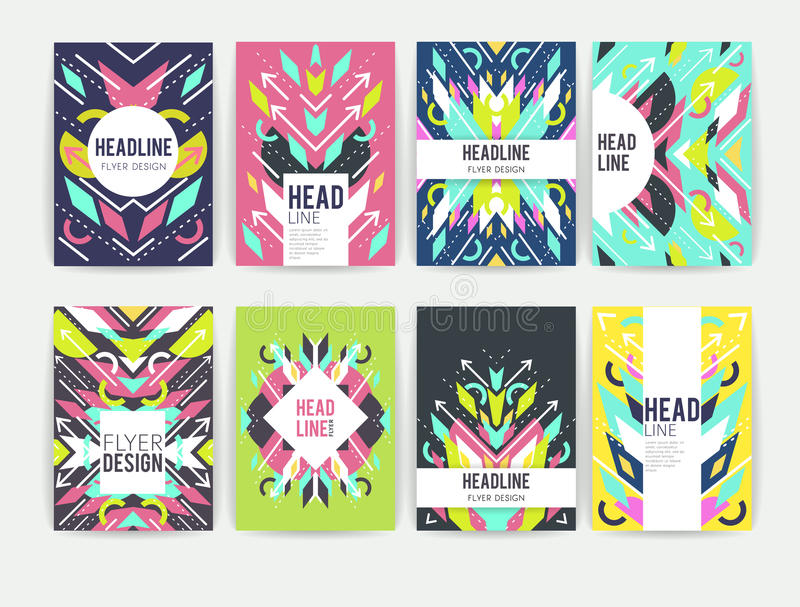 Reeks geometrische abstracte kleurrijke vliegers stock illustratie