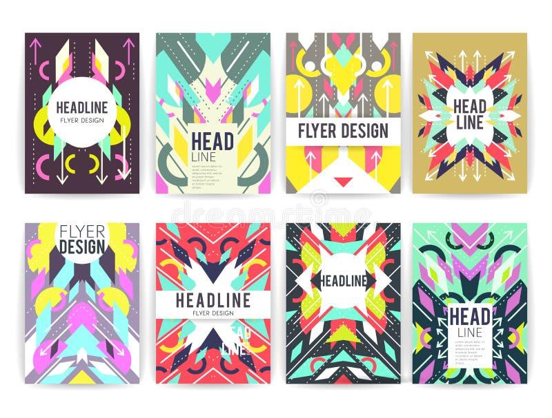 Reeks geometrische abstracte kleurrijke vliegers vector illustratie