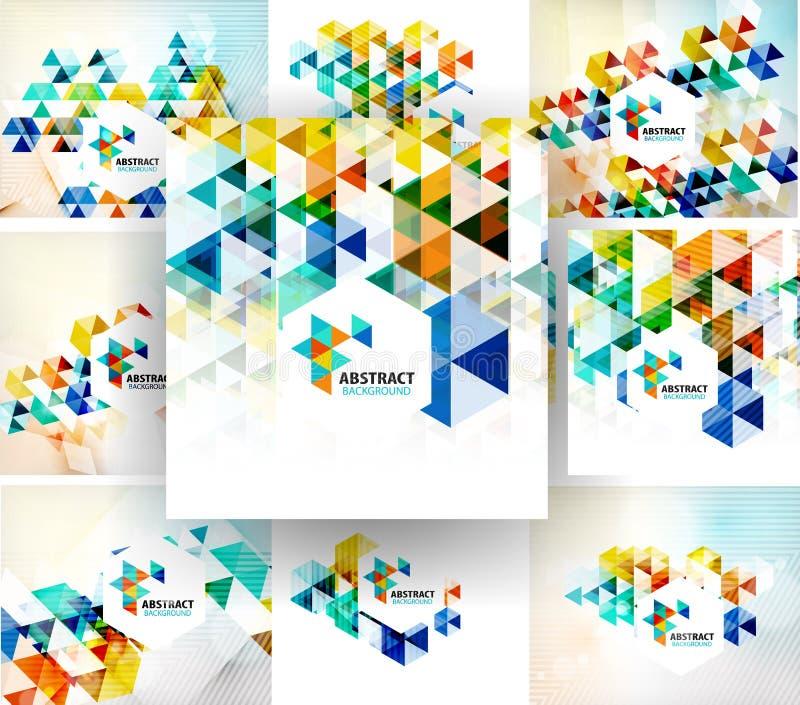 Reeks geometrische abstracte veelhoekige achtergronden royalty-vrije illustratie