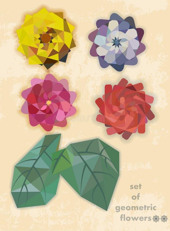 Reeks geometrische bloemen royalty-vrije stock fotografie