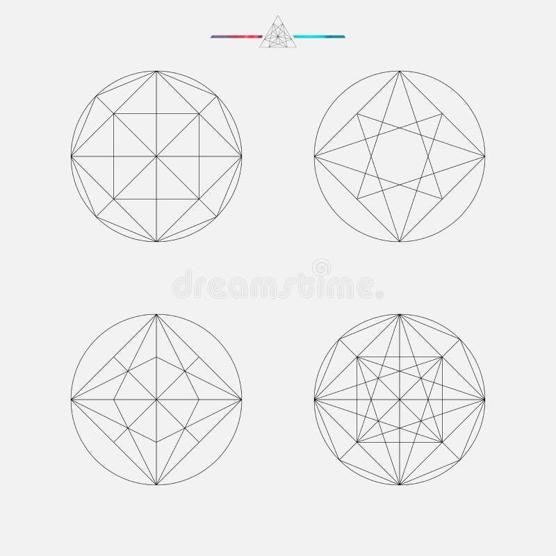 Reeks geometrische elementen, lijnontwerp royalty-vrije illustratie