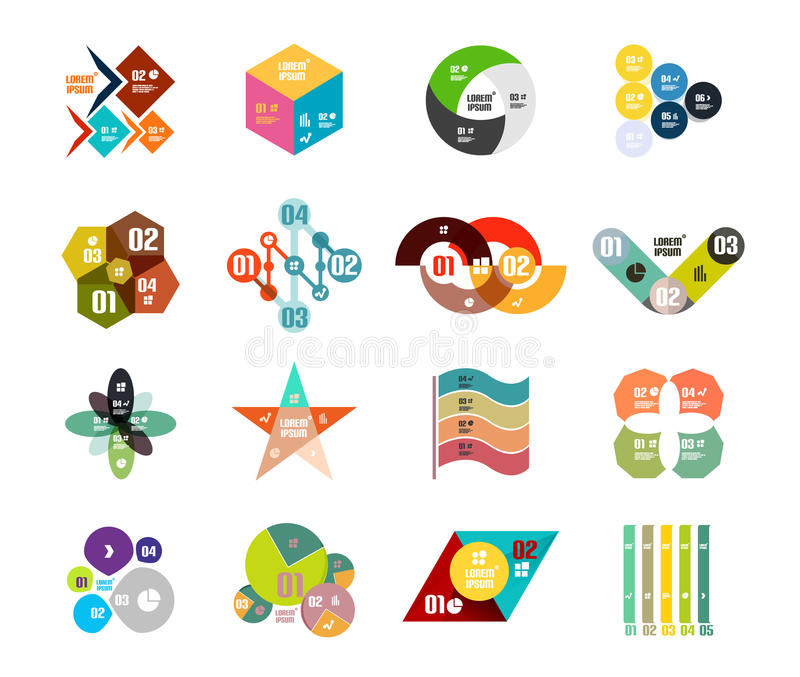 Reeks in geometrische gevormde infographic diagrammalplaatjes stock illustratie