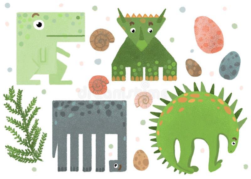 Reeks geometrische grappige dinosaurusstickers royalty-vrije stock foto's