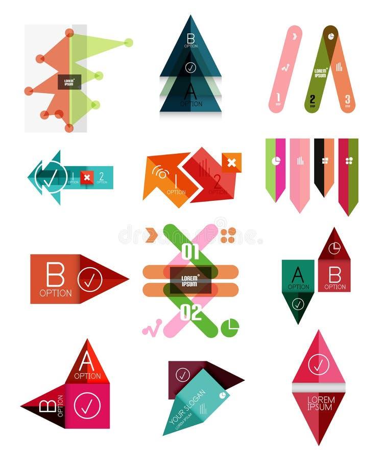 Reeks geometrische infographic malplaatjes stock illustratie