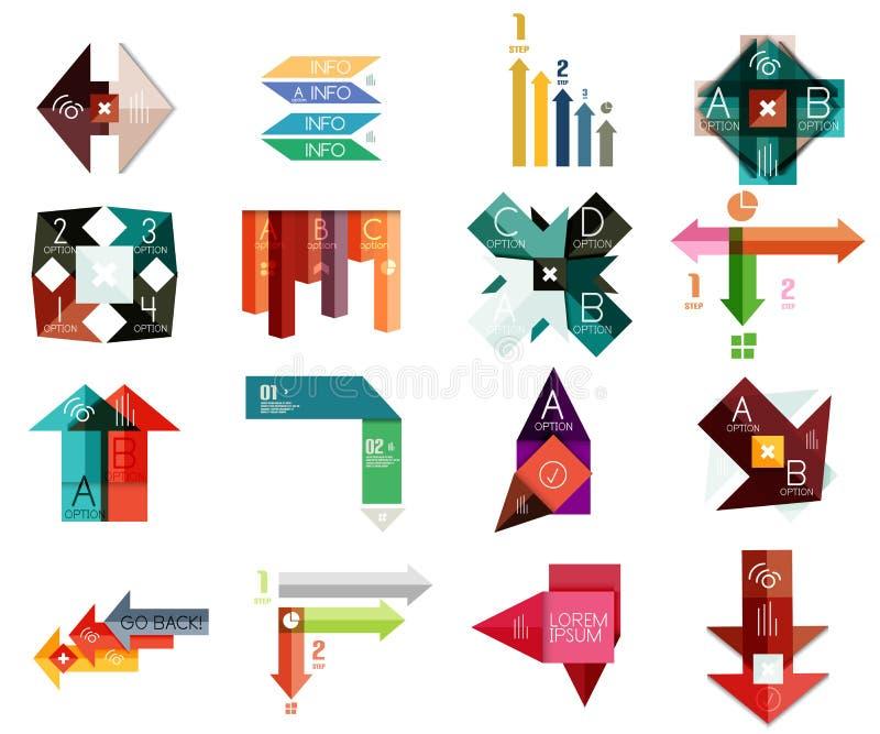 Reeks geometrische infographic malplaatjes vector illustratie