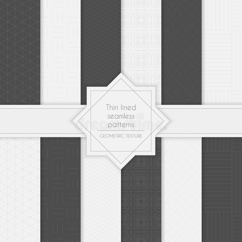 Reeks geometrische minimalistic dun gevoerde naadloze patronen in lichte en donkere kleuren vector illustratie