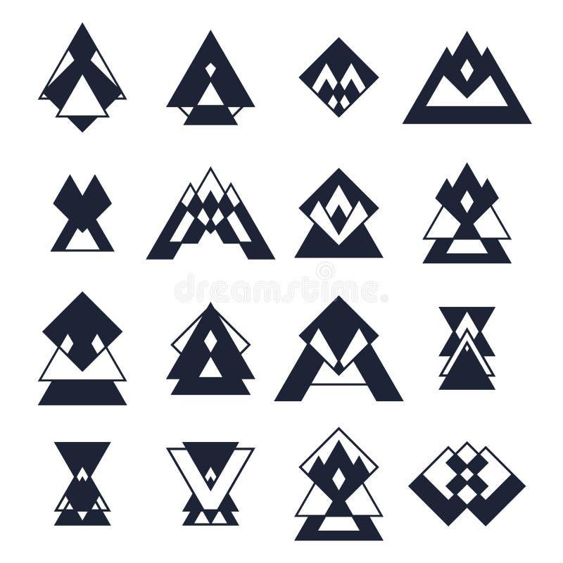 Reeks in geometrische vormen Hipster logotypes inzameling RT vector illustratie
