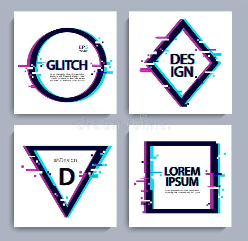 Reeks geometrische vormen, kader met glitch stijl stock illustratie