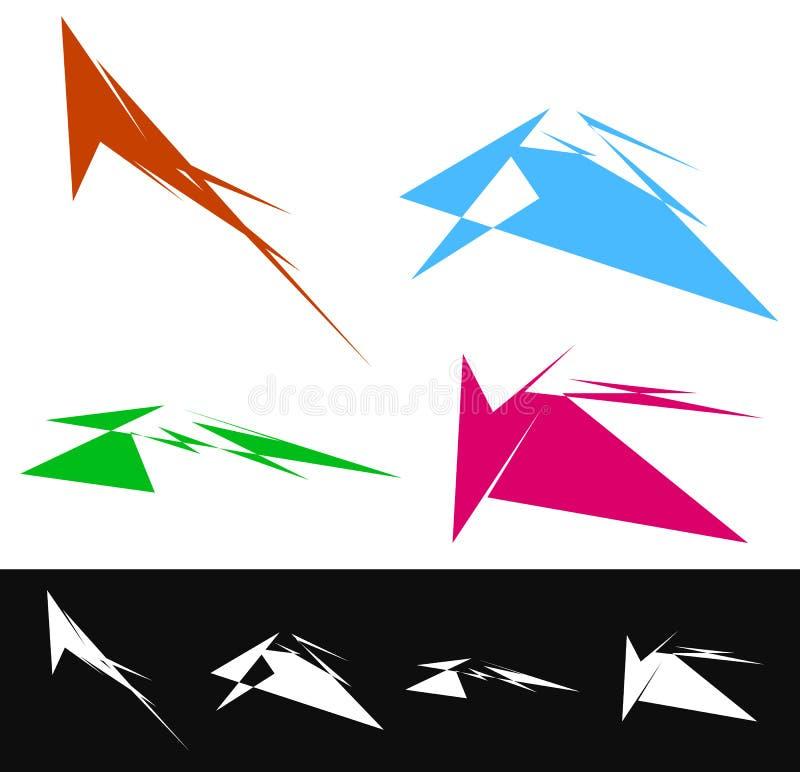 reeks geometrische vormen in verschillende kleuren Geweven vormen ele royalty-vrije illustratie