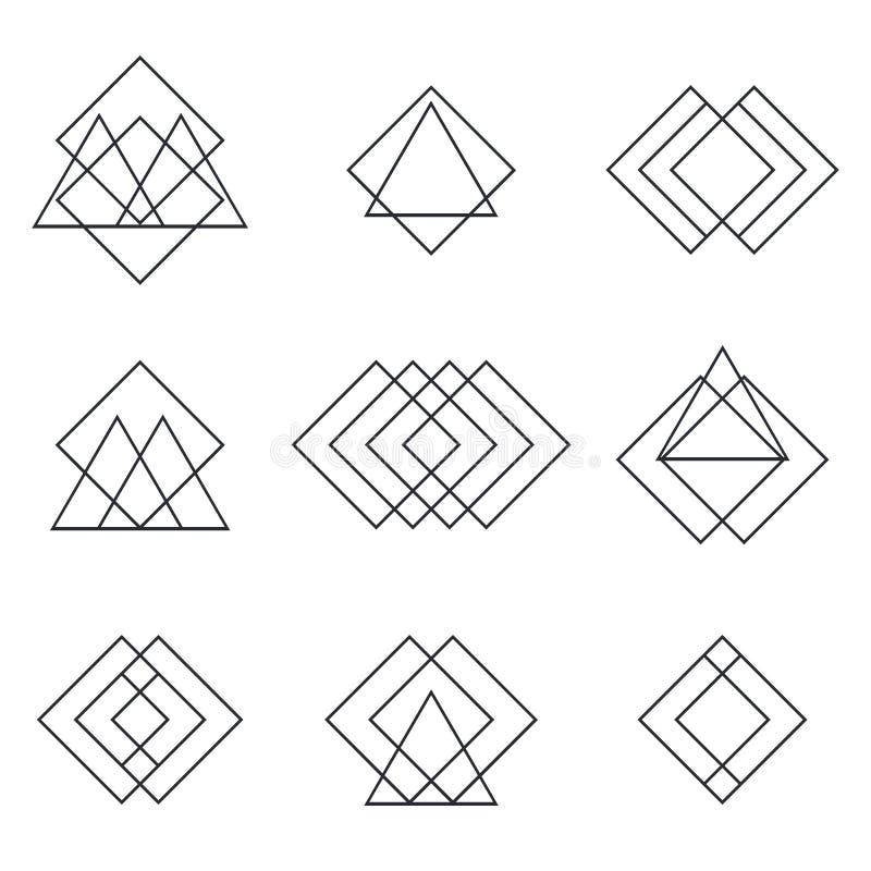 Reeks geometrische vormendriehoeken, lijnen voor uw ontwerp trendy royalty-vrije illustratie