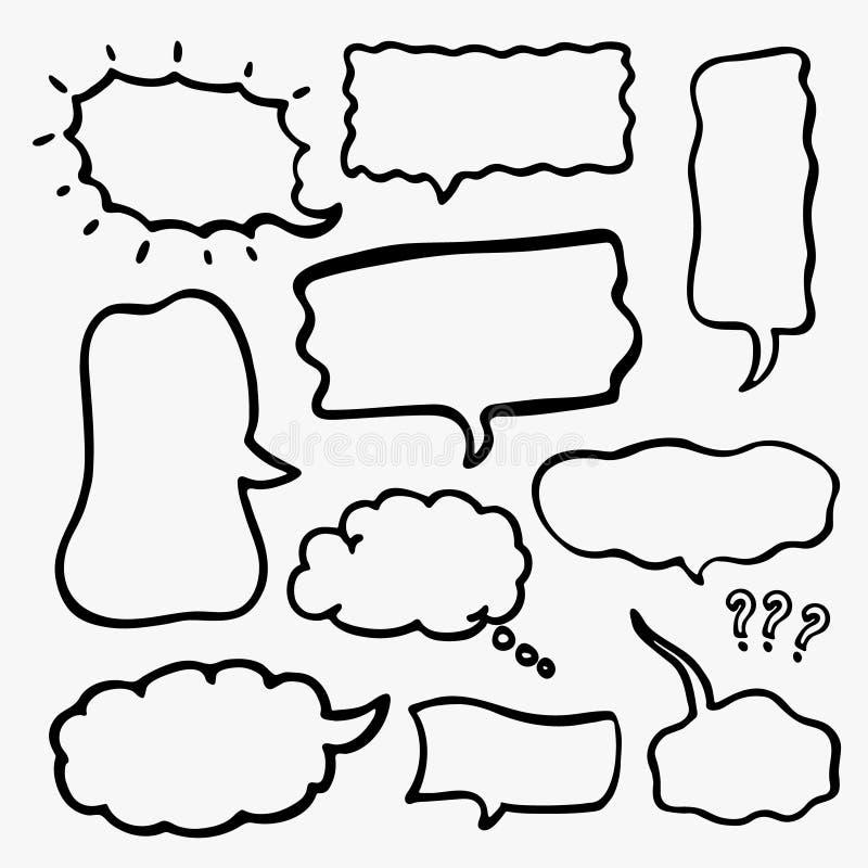 Reeks Geschetste Toespraakbellen vector illustratie