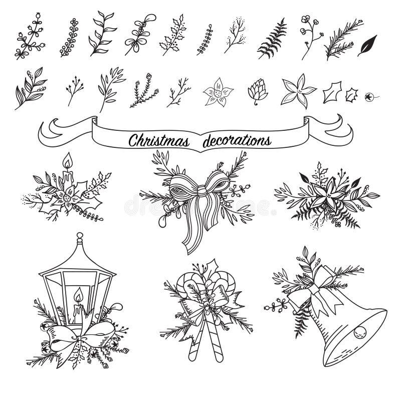 Reeks geschetste traditionele decoratie van het Kerstmisbeeldverhaal royalty-vrije illustratie