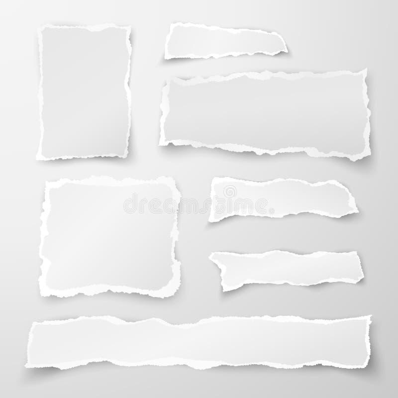 Reeks gescheurde document stukken Schrootdocument Objecten strook met schaduw op grijze achtergrond wordt geïsoleerd die Vector stock illustratie