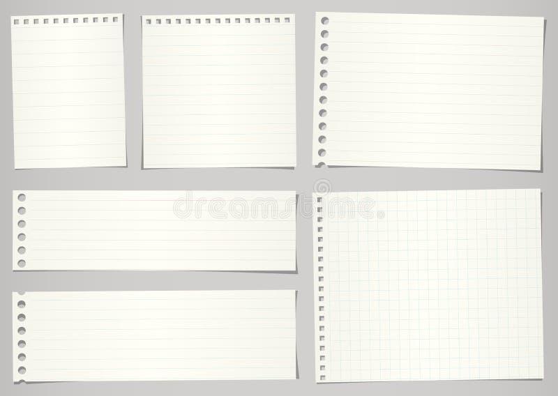 Reeks gescheurde notitieboekjedocumenten met lijnen en net  royalty-vrije illustratie