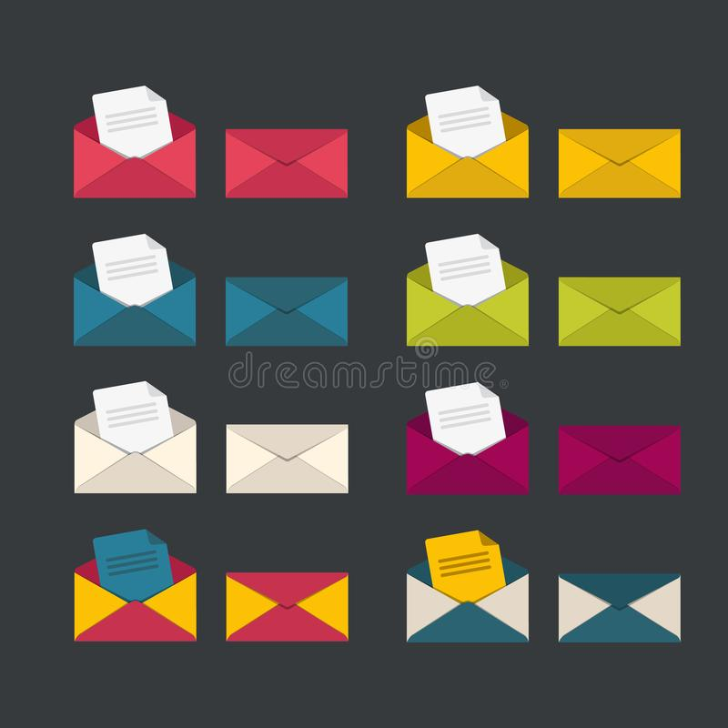 Reeks gesloten geweeste en open enveloppen stock illustratie