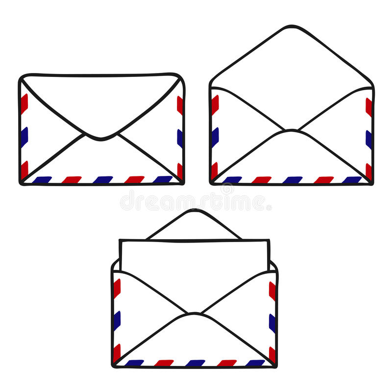 Reeks gesloten geweeste en open enveloppen royalty-vrije illustratie