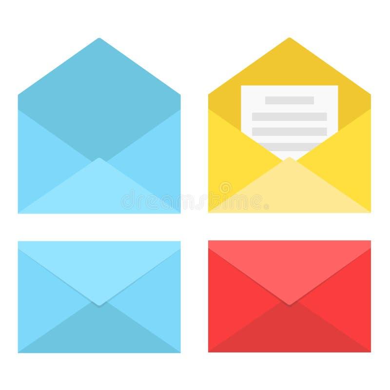 Reeks gesloten geweeste en open enveloppen met document, zieke voorraadvector stock illustratie