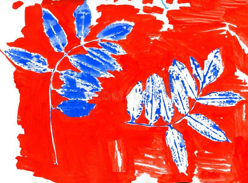 Reeks gestempelde droge bladeren op rood royalty-vrije illustratie