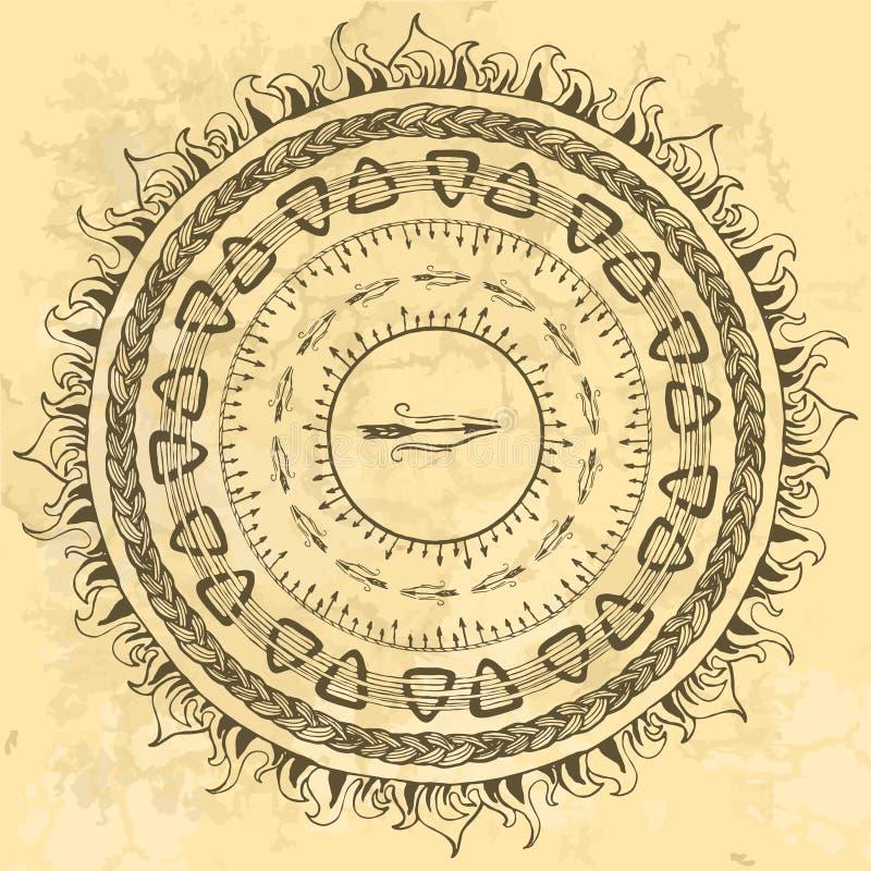 Reeks gestileerd rond kader van hand die Skandinavische Viking-motieven, volks siergrenzen trekken stock illustratie