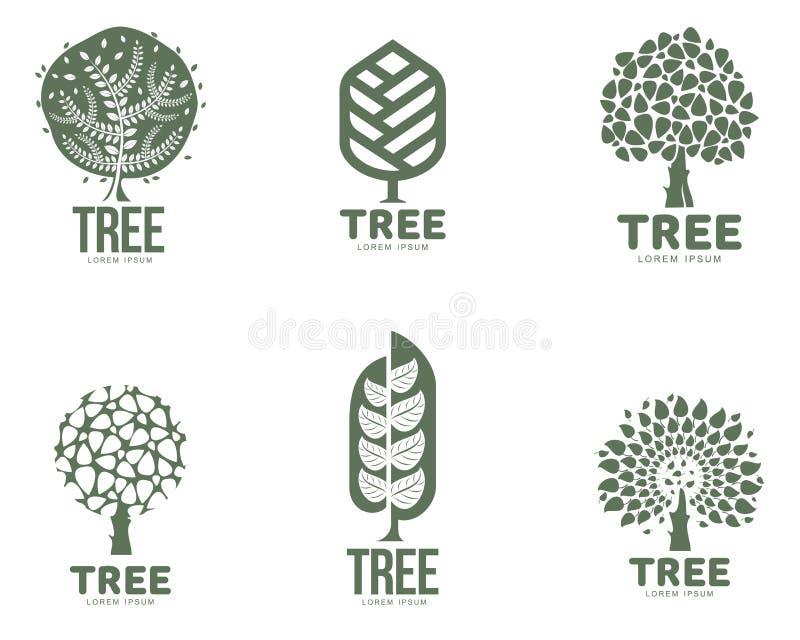 Reeks gestileerde abstracte grafische malplaatjes van het boomembleem, vectorillustratie stock illustratie