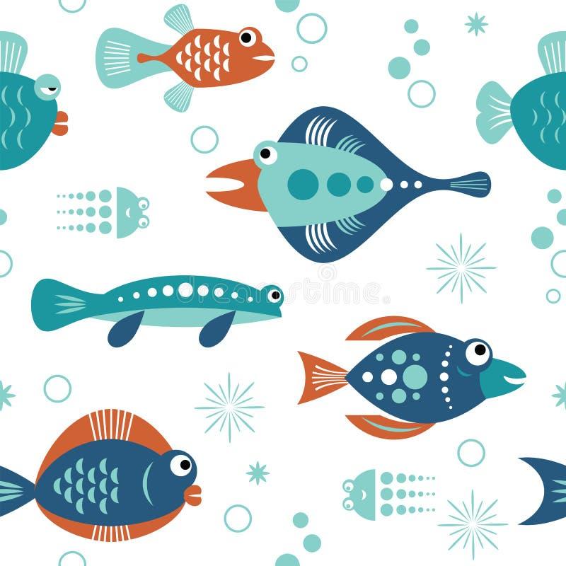 Reeks gestileerde decoratieve vissen royalty-vrije illustratie