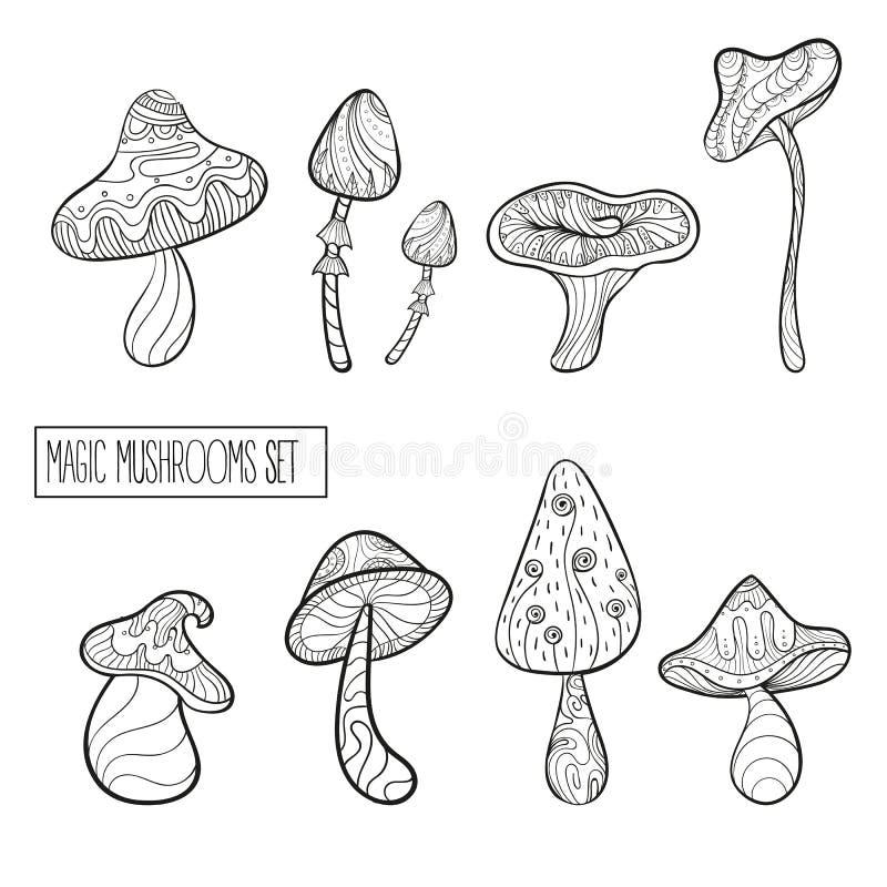 Reeks gestileerde magische paddestoelen royalty-vrije illustratie