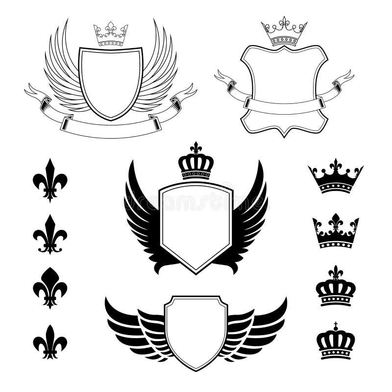 Reeks gevleugelde schilden - wapenschild - heraldische ontwerpelementen, fleur DE lis en koninklijke kronen royalty-vrije illustratie