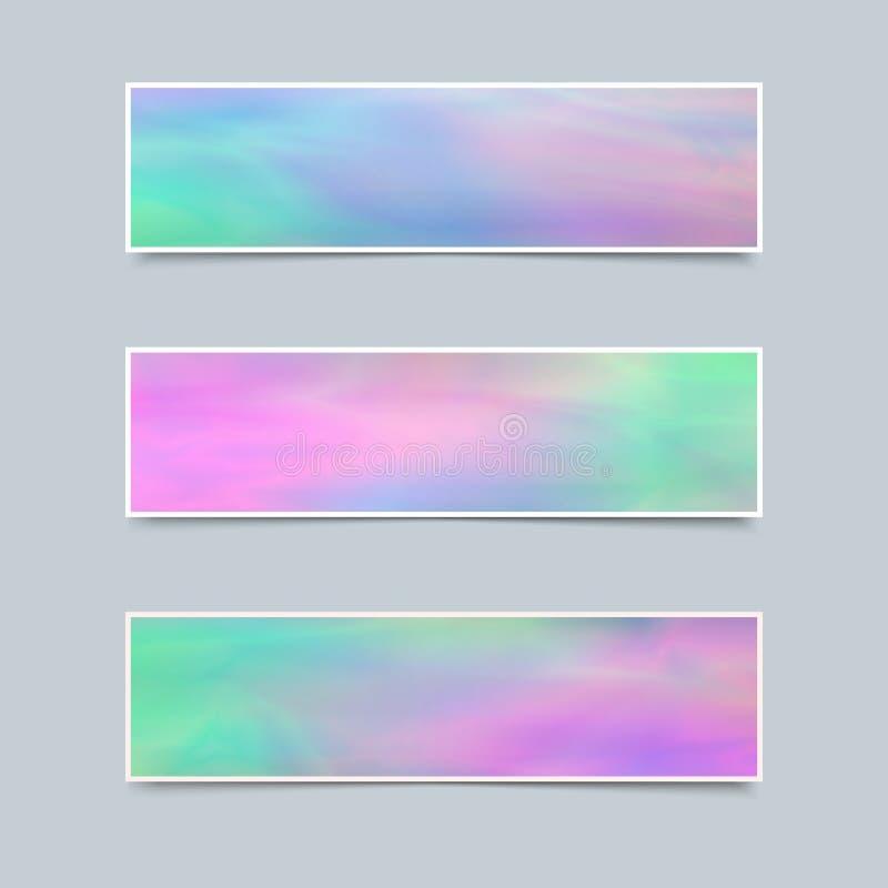 Reeks Gevoelige Banners met Holografisch Effect voor Zaken stock illustratie