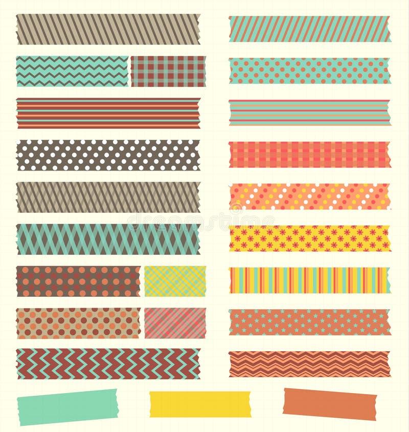 Reeks leuke retro gevormde stroken van de washiband vector illustratie