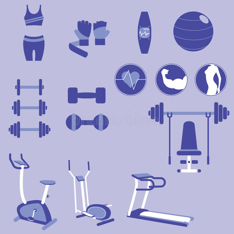 Reeks Gewichtheffen en Geschiktheidsoefeningsvectoren en Pictogrammen vector illustratie
