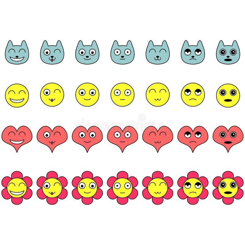Reeks gezichten met diverse emoties vector illustratie