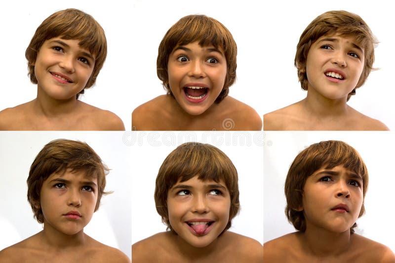 Reeks gezichten met verschillende emoties royalty-vrije stock foto's