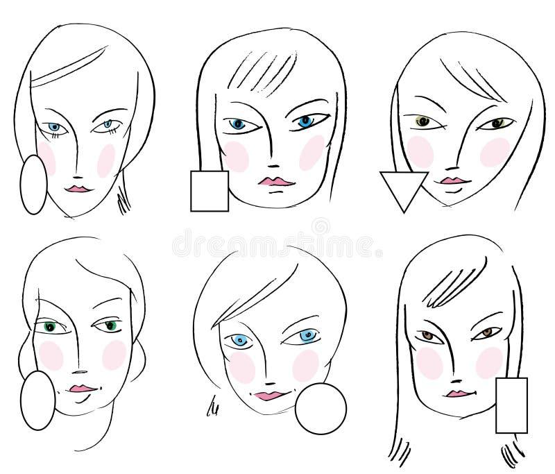 Reeks gezichtentypes van de vrouw royalty-vrije illustratie