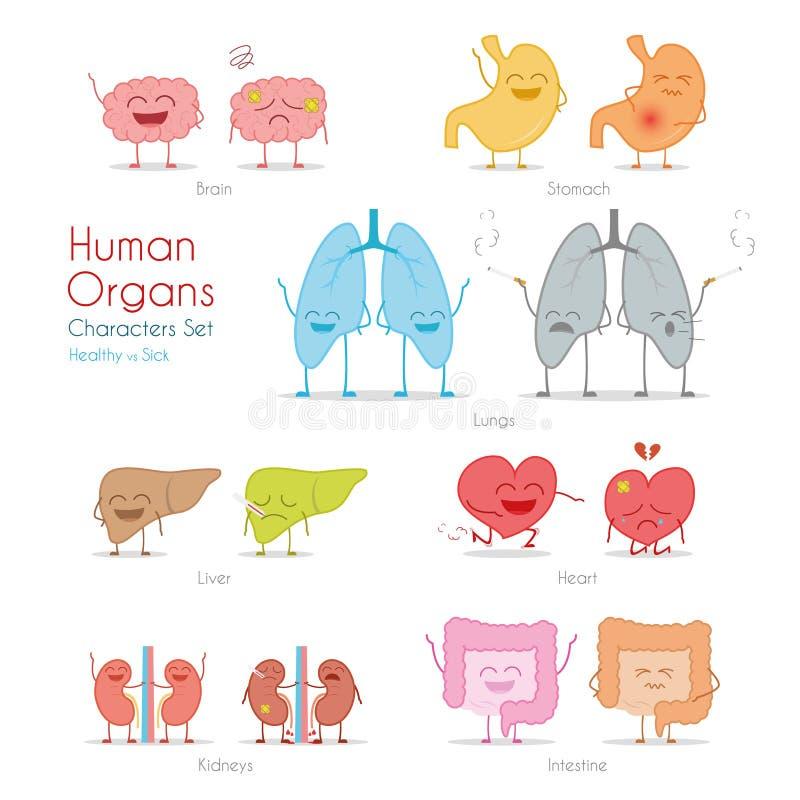 Reeks gezonde en zieke menselijke organen in beeldverhaalstijl stock illustratie