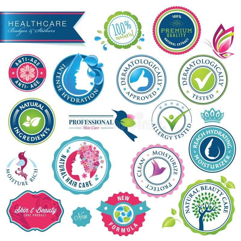 Reeks gezondheidszorgkentekens en stickers vector illustratie