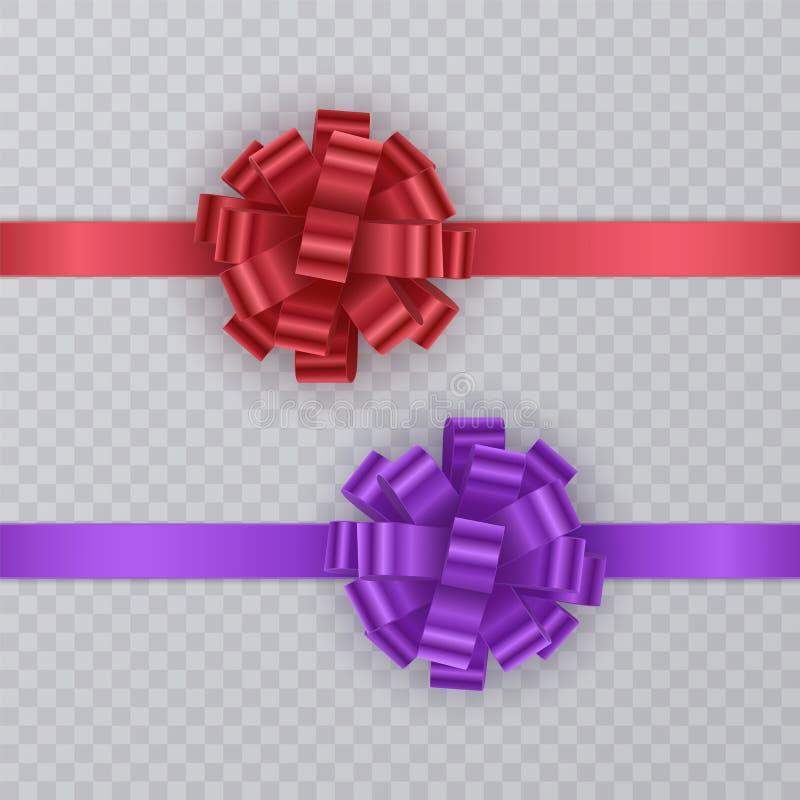 Reeks giftlinten met realistische Boog van rood en purper Giftelement voor kaartontwerp De achtergrond van de vakantie Vector vector illustratie