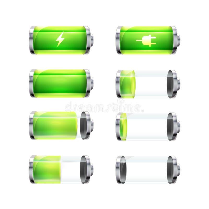 Reeks glanzende batterijpictogrammen met verschillende van de lastenniveau en macht tekens op wit royalty-vrije illustratie