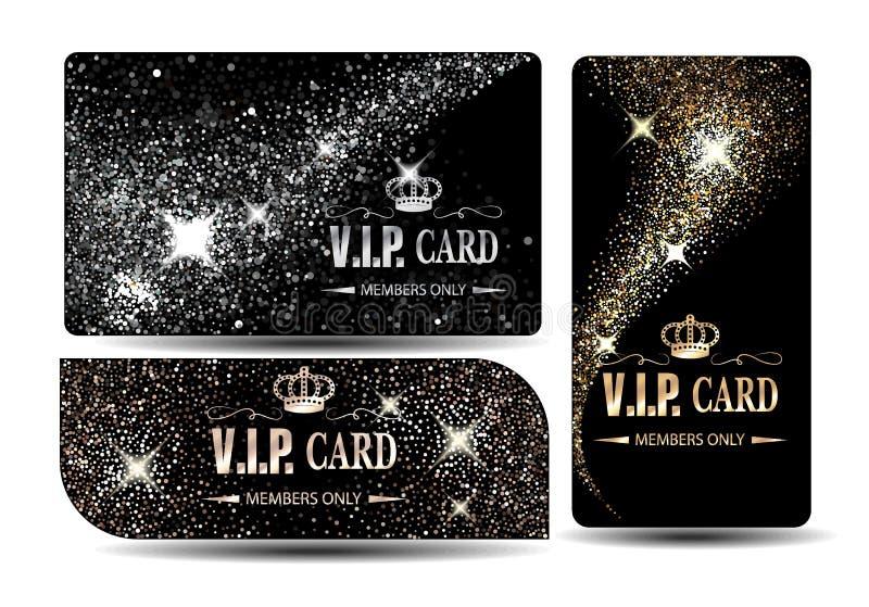 Reeks glanzende VIP kaarten stock illustratie