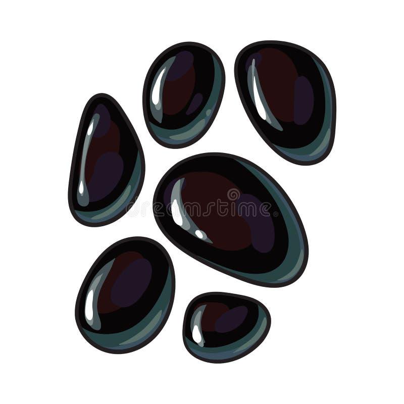 Reeks glanzende zwarte stenen voor massage, de toebehoren van de kuuroordsalon royalty-vrije illustratie
