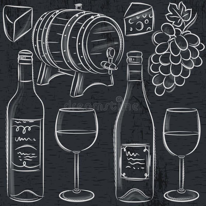 Reeks glases en flessen voor wijn op bord vector illustratie