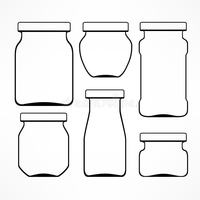 Reeks glaskruiken vector illustratie