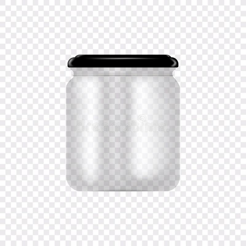 Reeks Glaskruiken voor het inblikken en het bewaren Vectorillustratie op transparante achtergrond Lege transparante glaskruik stock illustratie